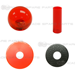 Sanwa Shaft Cover, Dustwasher and Ball Top JLF-CD-CR + LB-35-CR (Clear Red)