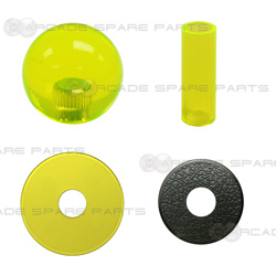 Sanwa Shaft Cover, Dustwasher and Ball Top JLF-CD-CY + LB-35-CY (Clear Yellow)