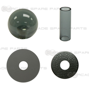 Sanwa Shaft Cover, Dustwasher and Ball Top JLF-CD-CS + LB-35-CS (Clear Black)